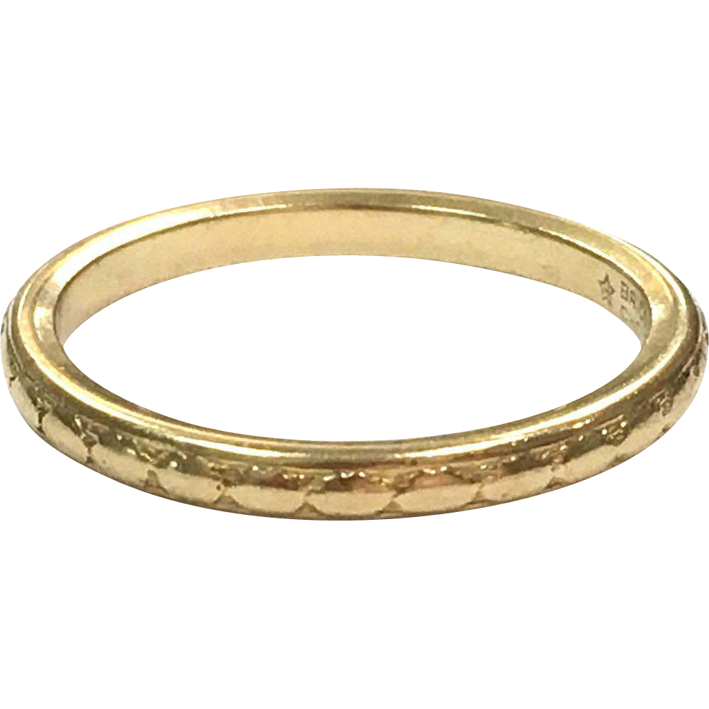 Vintage 1930s 18k Yellow Gold Band Brides Choice Wedding Ring by Alfred Humbert & Son