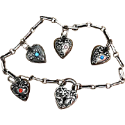 Victorian sterling silver puffy heart repousse charm bracelet for Holiday or Valentine gift