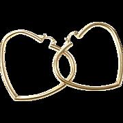 Vintage 14k Yellow Gold Large Heart shaped Hoop Earrings