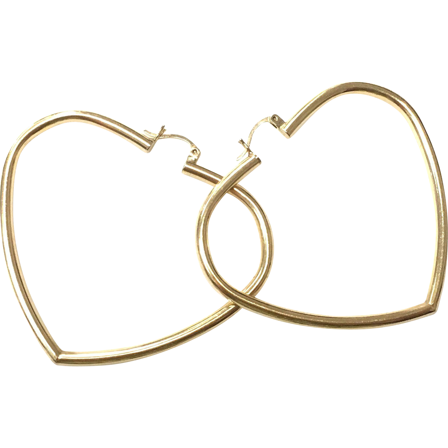 Vintage 14k Yellow Gold Large Heart shaped Hoop Earrings