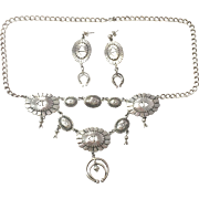 Sterling silver JB4 signed Squash blossom necklace with Concho details and matching pierced earrings