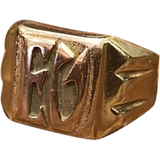 Antique 1920s Art Deco solid 18k rose gold and yellow told initial ring EV or EU
