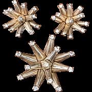 Vintage 1960s Joseph Mazer Jomaz Brothers Starburst Sputnik gold tone rhinestone pin earring set