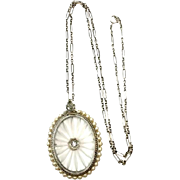 Antique Camphor Glass Seed Pearl and Diamond 10k White Gold Oval Pendant and Art Deco Chain