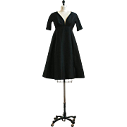 Rare designer Black Vintage 1960s Dress Galanos with Large Buttons up the Back