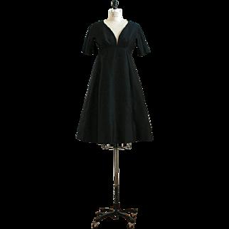 Rare designer Black Vintage 1960s Dress Galanos with Large Buttons up the Back