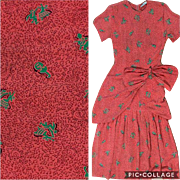 Vintage Lora Lenox 1940s bright orange red rayon musician or music note novelty printed day dress