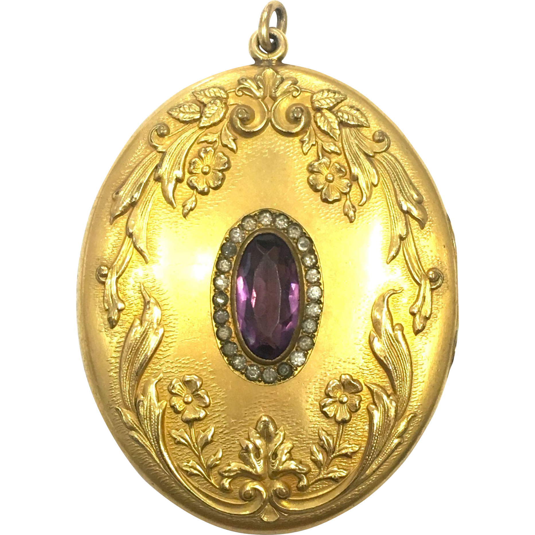Large Antique Art Nouveau gold fill locket with purple and clear rhinestones