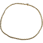 Vintage solid 750 18k yellow gold articulated chain necklace made in Italy with sapphire clasp