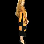 Excellent condition 1920s pumpkin orange black beaded flapper dress