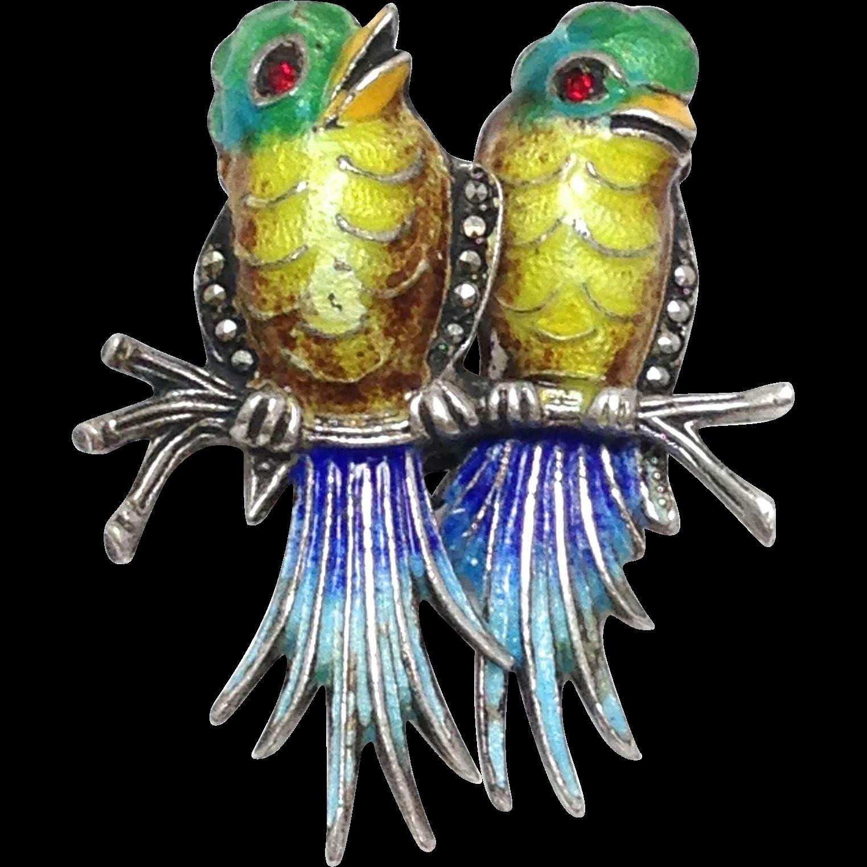 Vintage German Sterling Silver Love Birds Brooch With