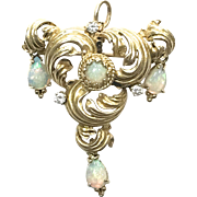 Vintage 1940s 14k Yellow Gold Diamond and Colorful Opal Lavaliere Pin or Pendant