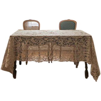 "Wedding table overlay decor of Antique Reticella lace rectangle 62"" x 102"" great for a Chuppah"