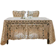 """Antique rectangle wedding tablecloth or Chuppah of Reticella needlelace, handmade 104"""" x 68"""" B"""