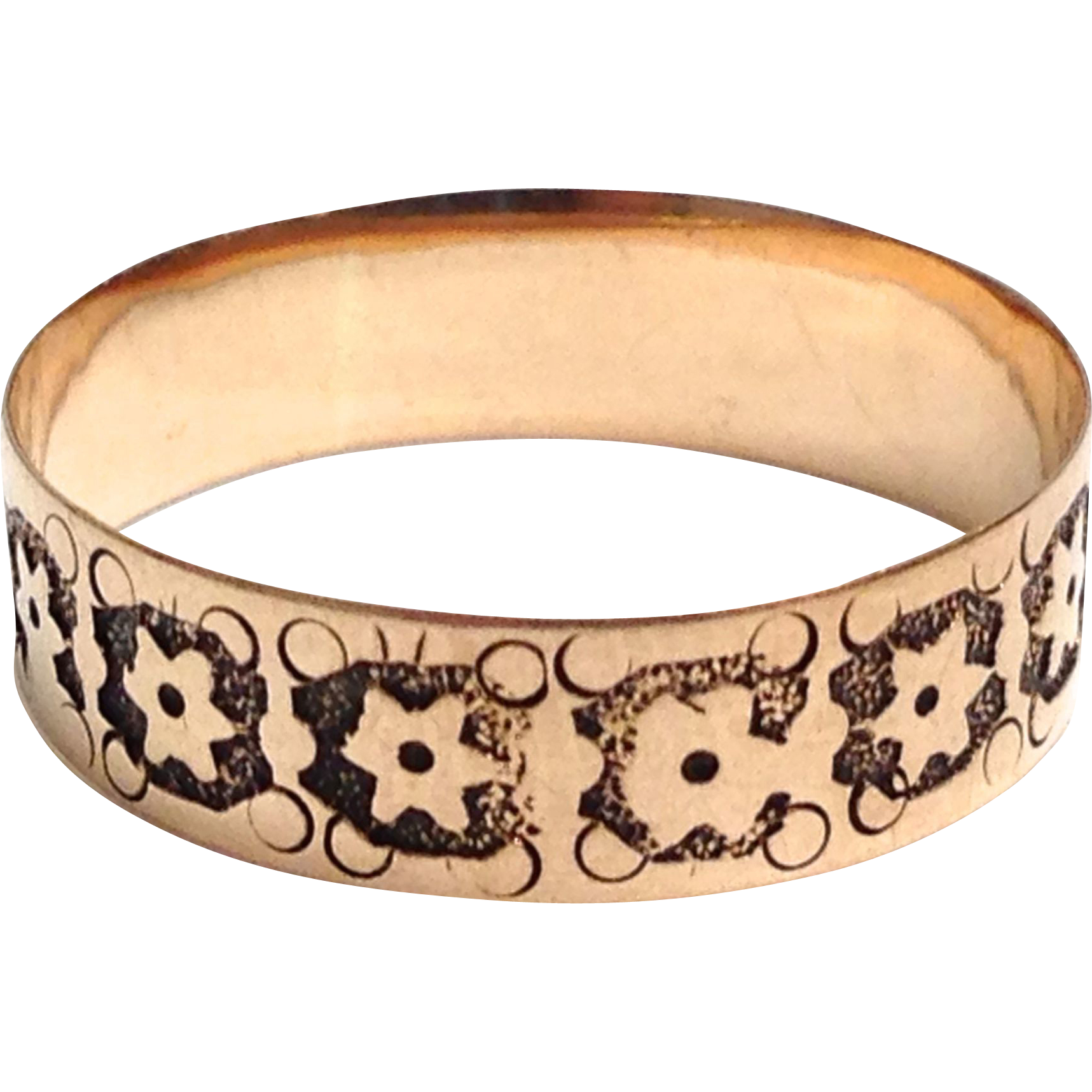 Antique 10 K yellow gold stacking cigar band ring size 5.25