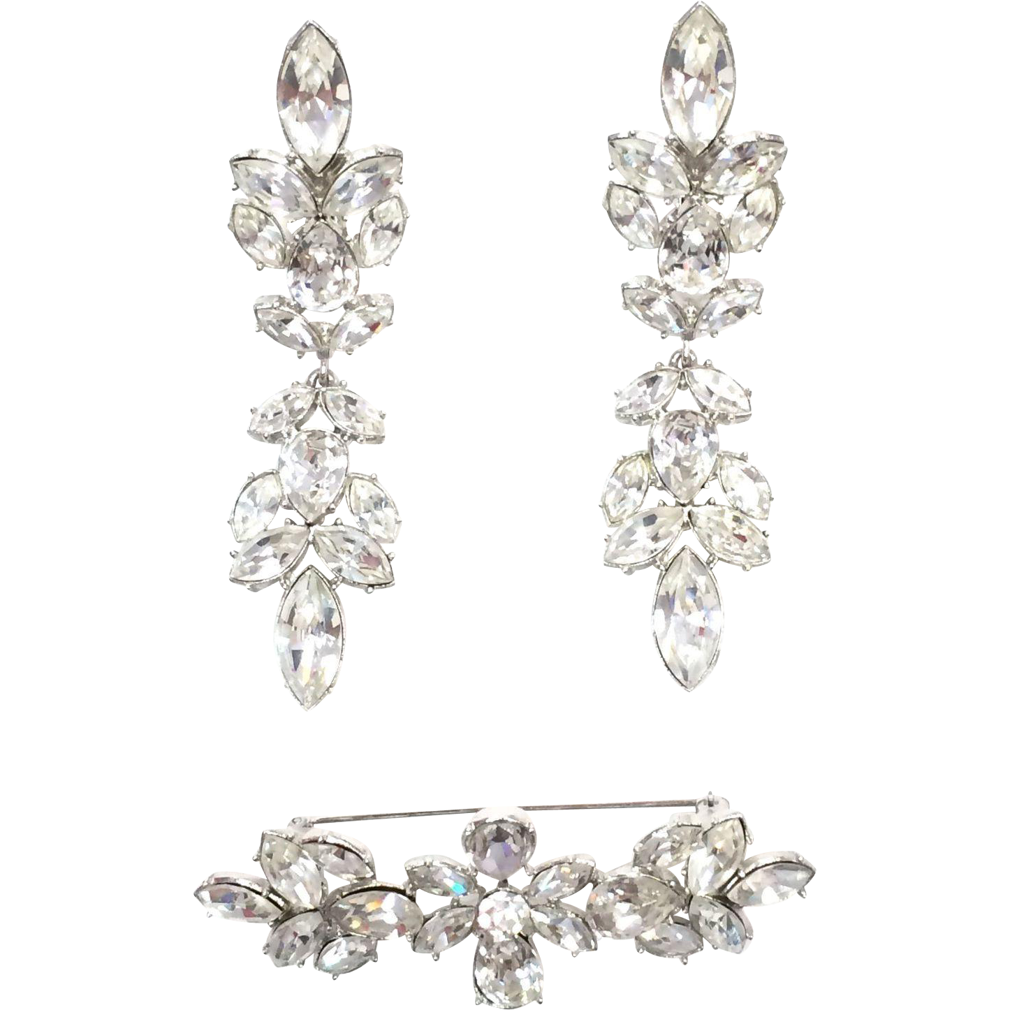 Vintage Givenchy Bridal Rhinestone Brooch and Clip on Earring Set