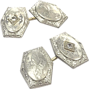 Antique Art Deco 14 K White Gold Engraved Cufflinks with Diamonds
