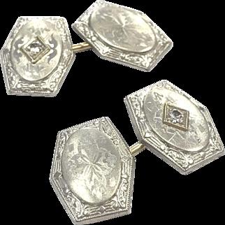 Antique Art Deco 14 K White Gold Engraved Cufflinks with Diamonds