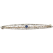 Antique 14k White Gold and Yellow Gold Filigree Bar Pin with Blue Stone