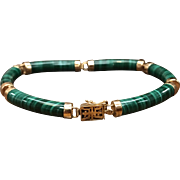 Vintage 14k gold Asian Chinese themed green stone malachite hinged link bracelet