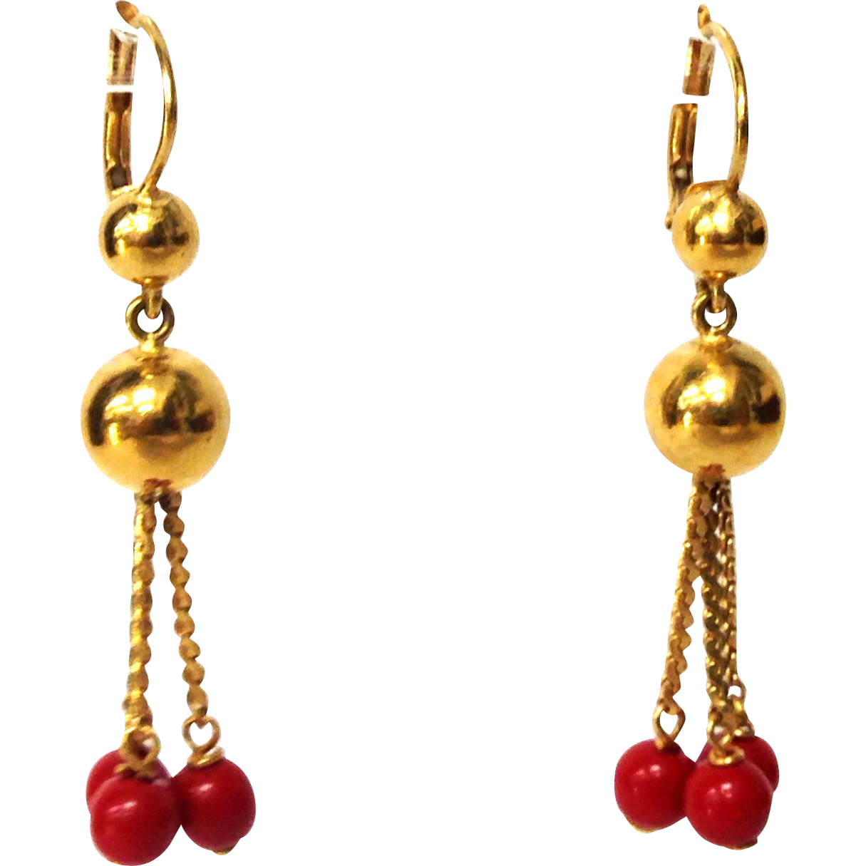 Vintage 1980s 18K 750 yellow gold and red coral pierced earrings