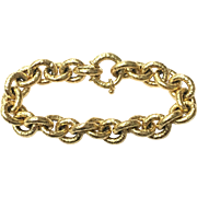 Vintage 1980s signed OWC Italy 18 karat yellow gold chain link bracelet