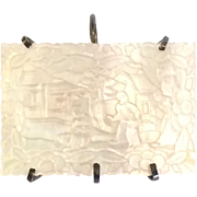 Vintage Mother of Pearl Asian Pendant Intricately Carved with a Scenic Display