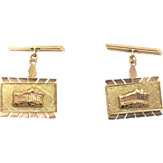 14K Solid Yellow Gold Cufflinks with Parthenon