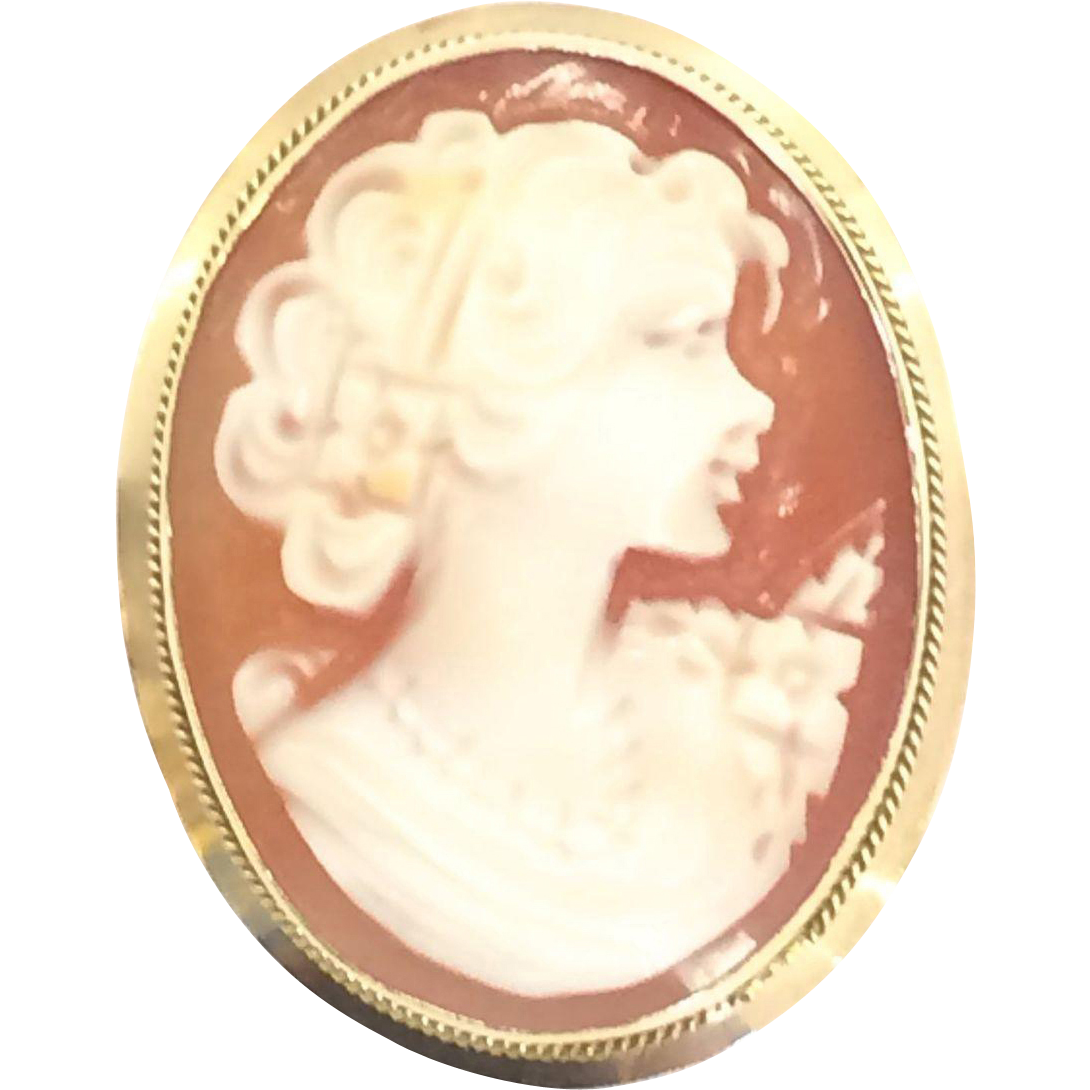 Vintage 14k Solid Yellow Gold Cameo Pin or Pendant with Makers Mark