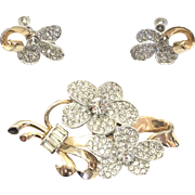 Vintage 1940s Silver and Gold Tone Rhinestone Flower Brooch and Earring Set