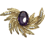 Vintage 1960s 18k Yellow Gold Leaf Brooch with Diamonds and Large purple Amethyst Stone