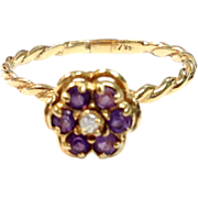 Vintage 14K yellow gold amethyst diamond flower delicate stacking ring