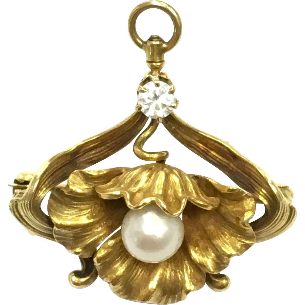 Antique Art Nouveau 14K Yellow Gold Diamond Natural Pearl and Rhinestone Flower Pin or Pendant