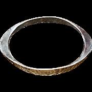 Vintage hammered 925 sterling silver modernist bangle bracelet signed Tone Vigeland, Plus, Norway Designs, Fredrikstad Norway