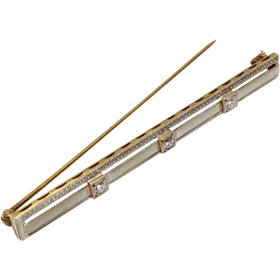 Antique Solid 14K White and Yellow gold three Diamond Bar Pin or pendant two 5/8 inches long