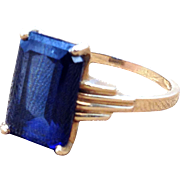 Emerald cut blue CZ ring in Art Deco 14k hello gold setting