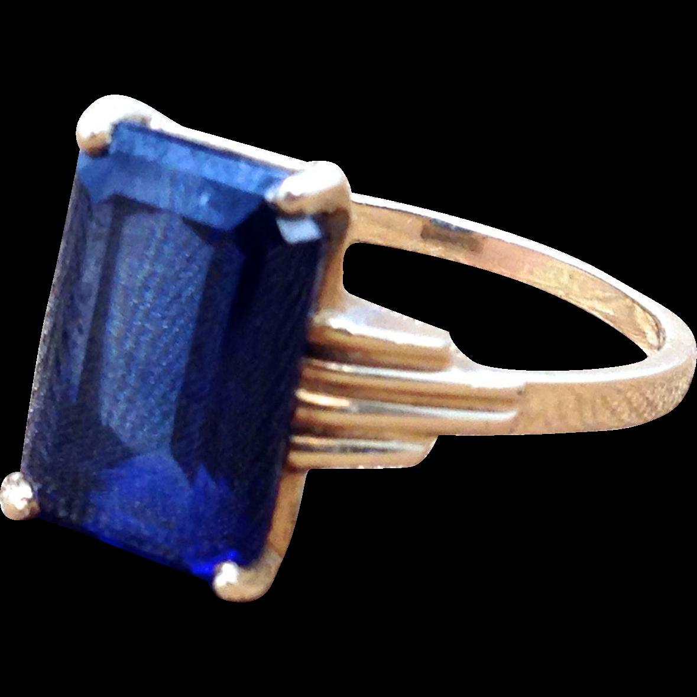 Emerald cut blue CZ ring in Art Deco 14k hello gold setting