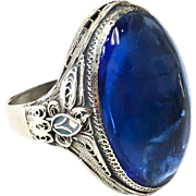 Sterling Silver Blue Glass Chinese Ring