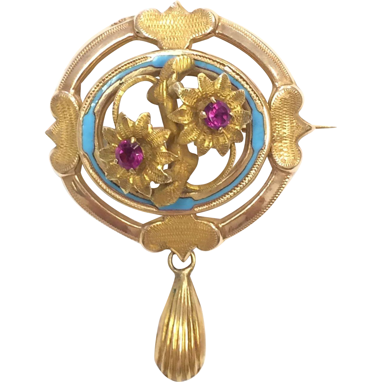 Antique Victorian 14k yellow gold Brooch with Flowers, Pink Stones and Light Blue Enamel