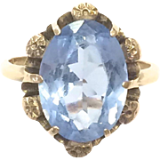 Vintage 1940s 10k Yellow Gold Ring with Blue Glass Stone and Flower Detailing