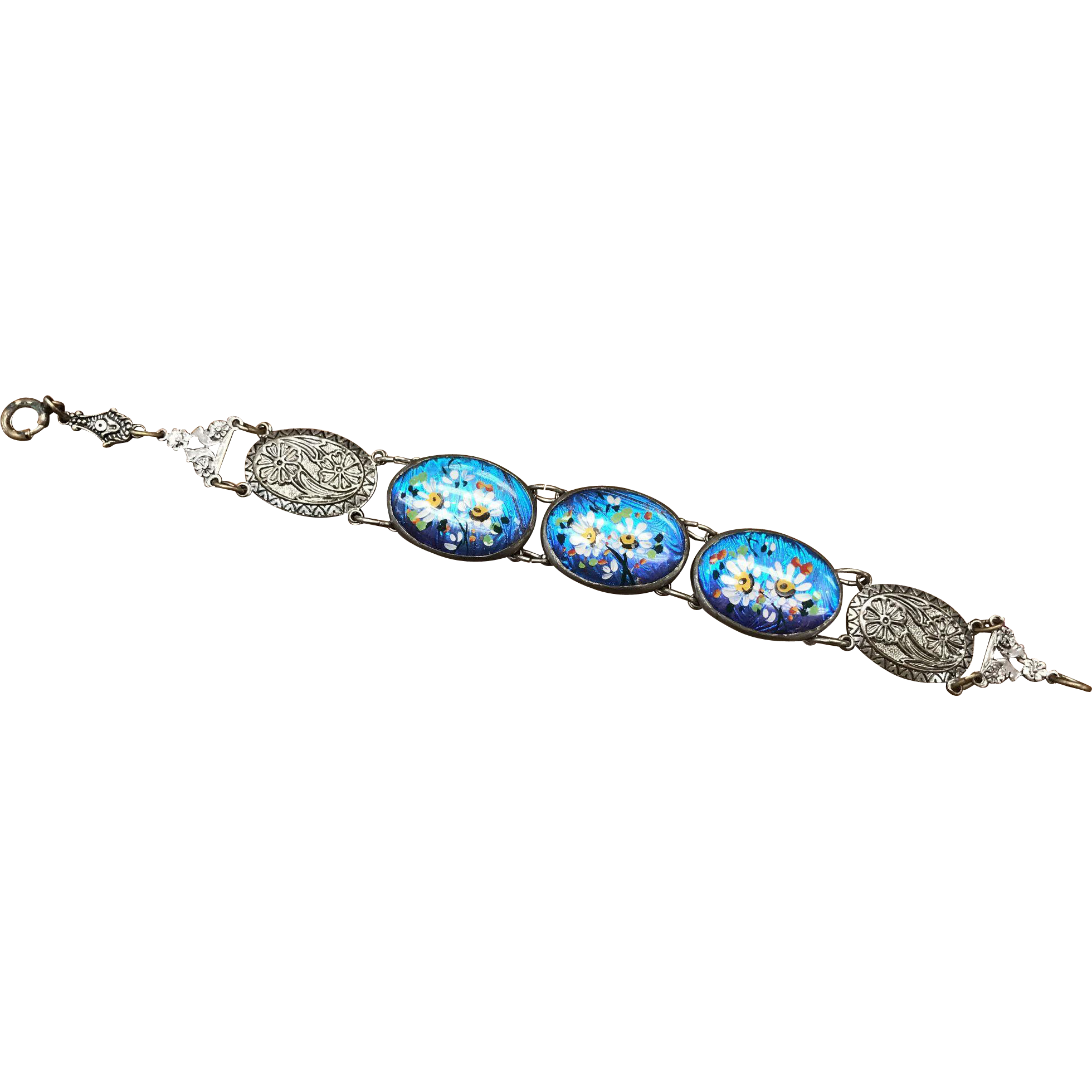 Vintage silver tone link bracelet with hand painted floral decoration on butterfly wings