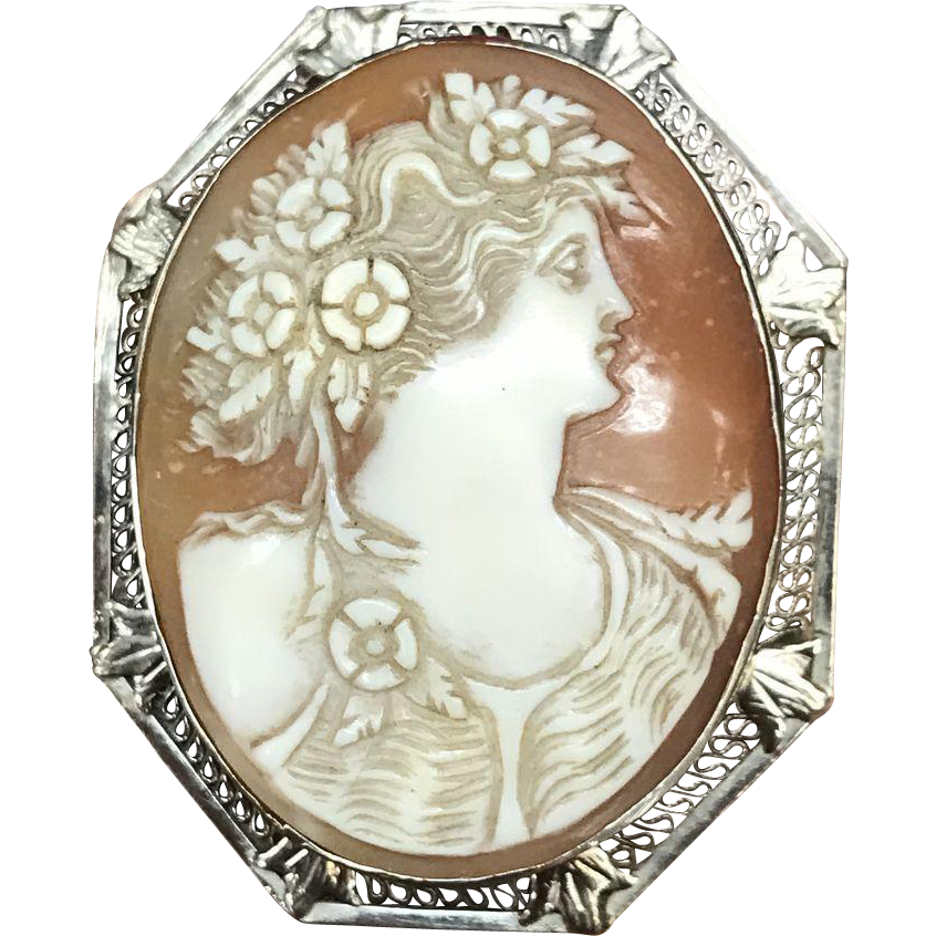 Vintage 14K white gold filigree carved shell cameo with many flowers