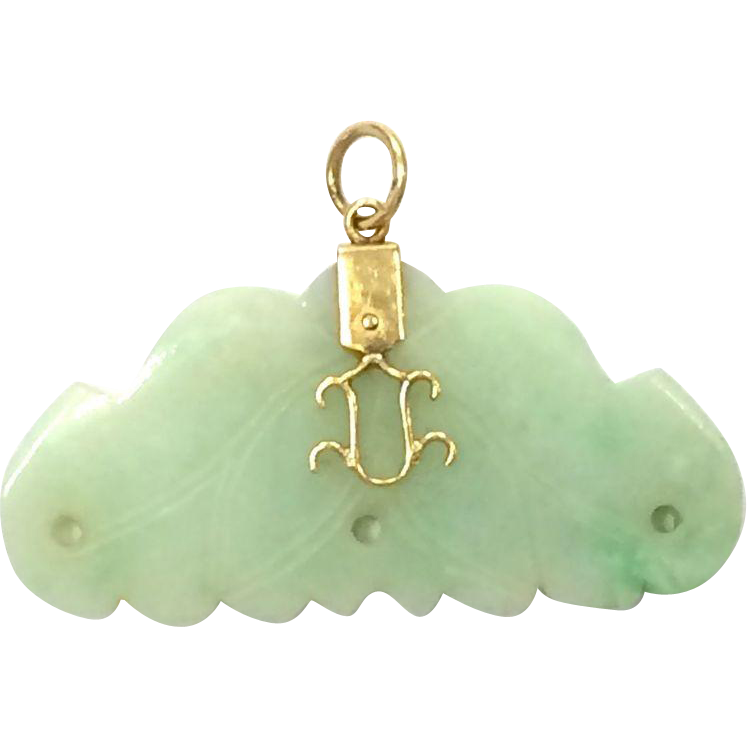 Vintage Beautifully Carved Lotus Jade and 14k Yellow Gold Pendant