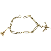 Vintage Unusual 14k Yellow Gold Chain Link Bracelet with Airplane and Eiffel Tower Charms