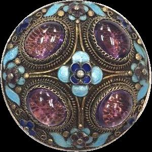 Vintage Chinese silver filigree enamel and amethyst cabochon circular pin