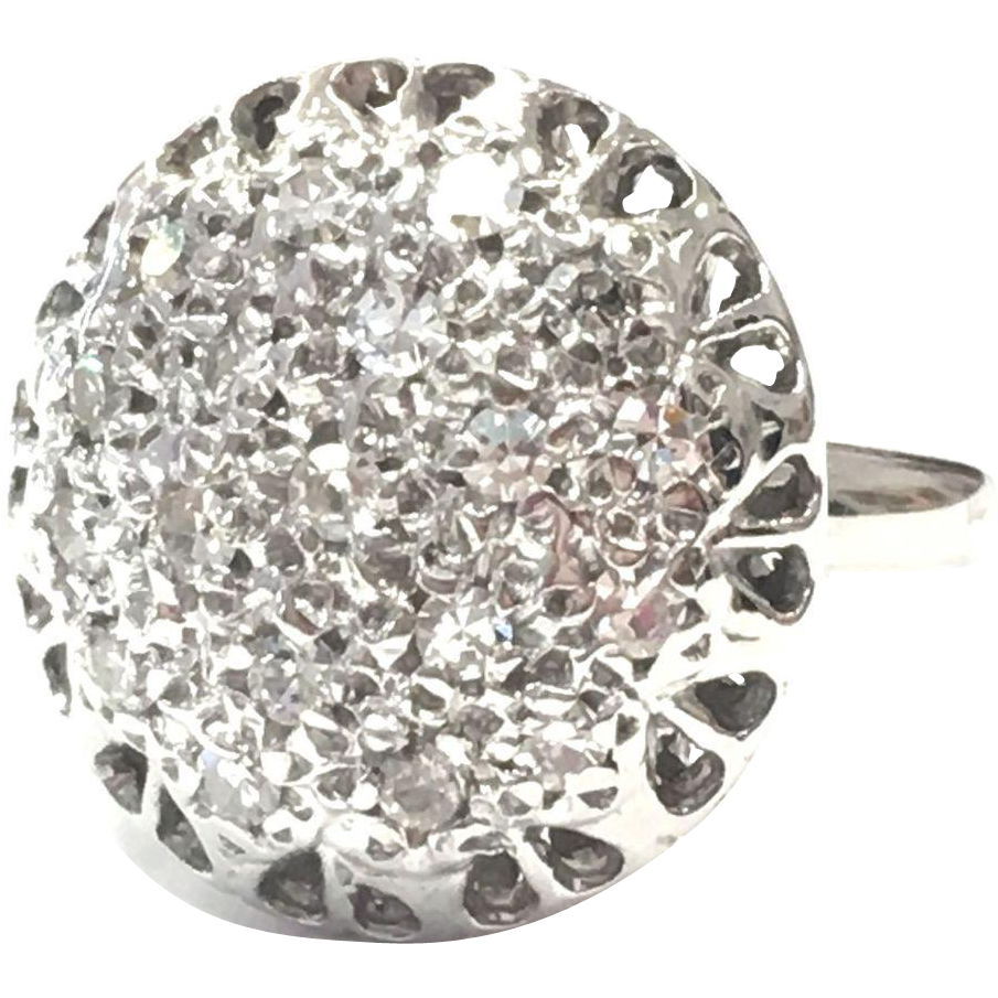 Vintage 1920s 14k White Gold Unusual Sparkly Diamond Cluster Ring