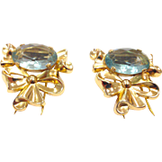 Vintage Coro Duette Signed Gold Tone Bow Dress Clip Set with Light Blue Faceted Glass Stones