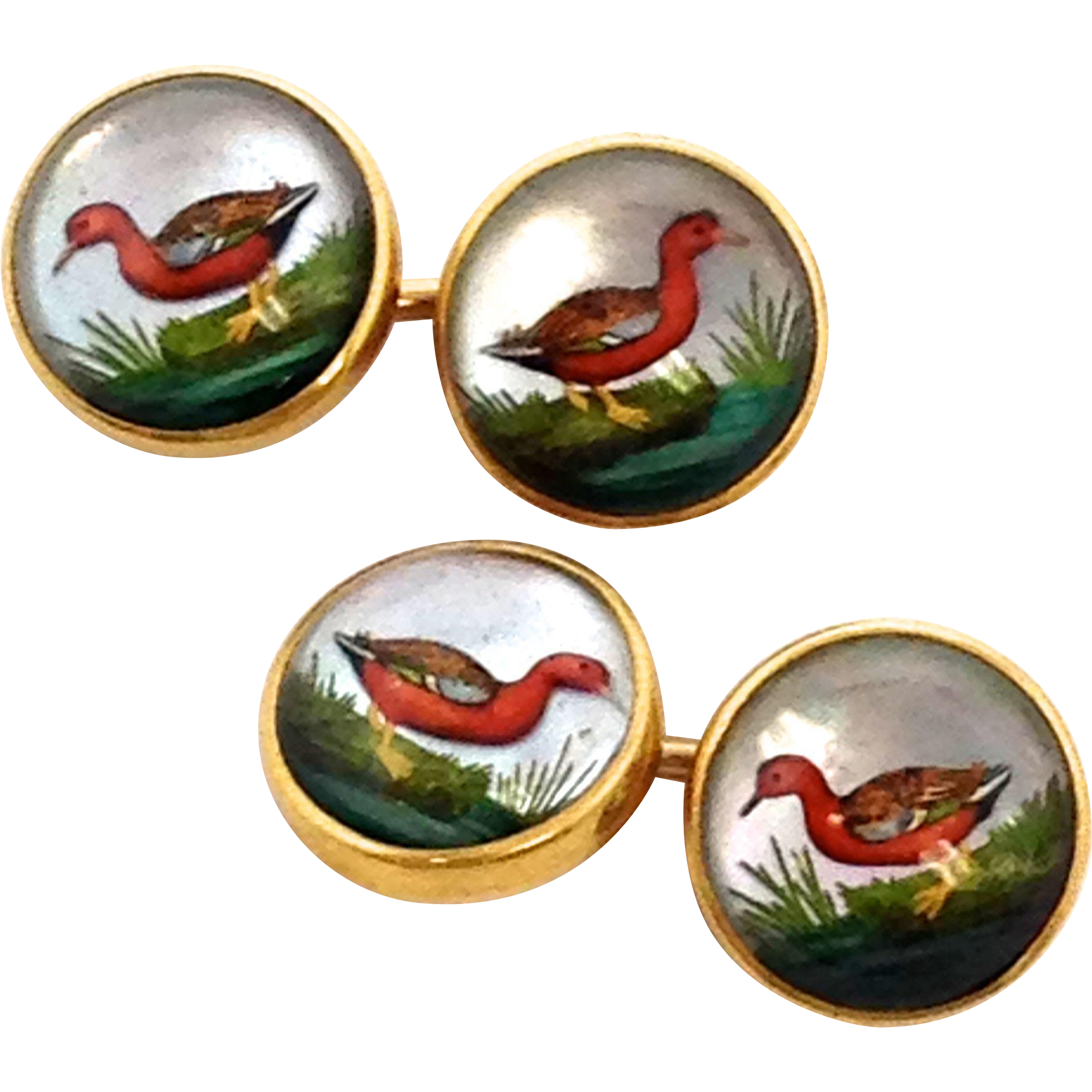 Very Rare Vintage Essex Crystal 14k Yellow Gold Duck bird Cuff Links