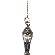 1920s Art Deco Egyptian Revival King Tut sarcophagus Ladies Enamel Pencil Pendant Silver Chain