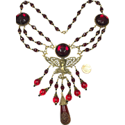 Egyptian Revival Czech Red Glass Vintage 1940s Statement Necklace with Gold Tone detail of Woman's Face